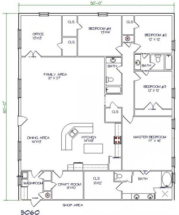 Barndominium Floor Plans 50'X60′ 3000 Sq. Ft. 5 Bed, 3 Bath