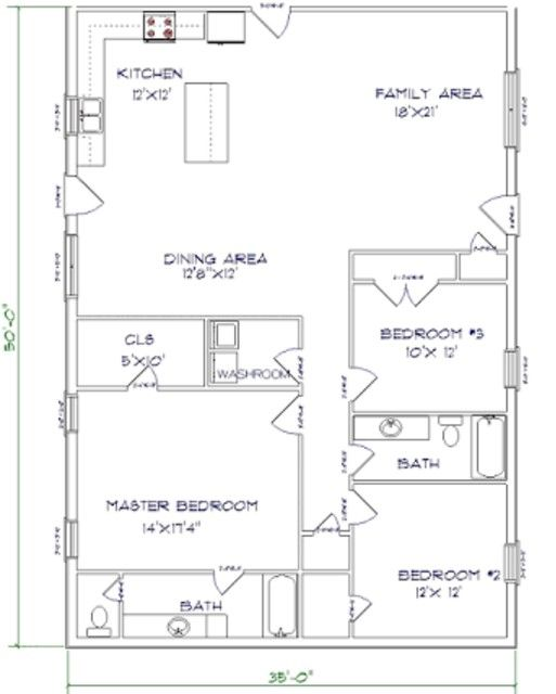 Barndominium Floor Plans 3 Bed 2 Bath