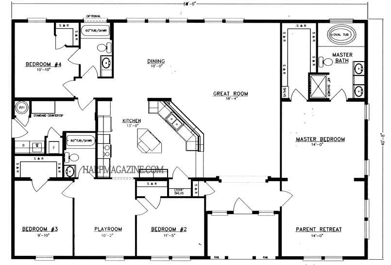 Barndominium Floor Plans 40x60 5 Bed 2 Bath
