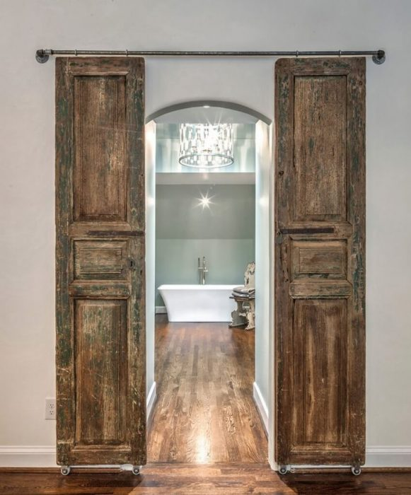 French Country Decor Ideas - Rustic Wooden Barn Doors for Ensuite Bathroom - Cabritonyc.com