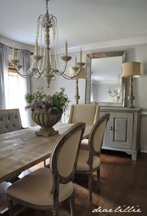 French Country Decor Ideas - Dining Room with Plush Chairs and Credenza - Cabritonyc.com
