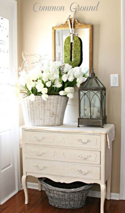 French Country Decor Ideas - Springtime French Country-Inspired Foyer Display - Cabritonyc.com