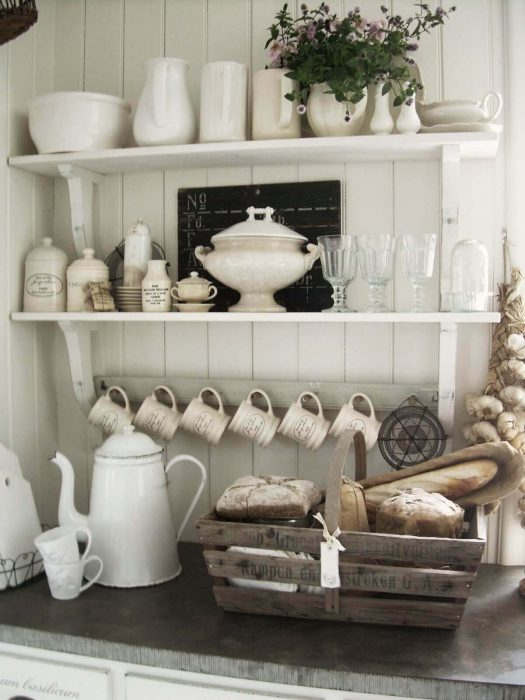 French Country Decor Ideas - French Kitchen Exposed Shelving Crockery Display - Cabritonyc.com