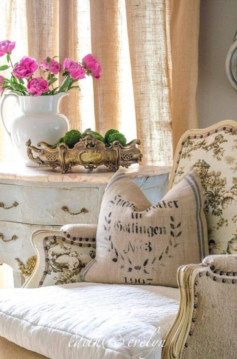 French Country Decor Ideas - Toile and Rustic Linen Chair - Cabritonyc.com
