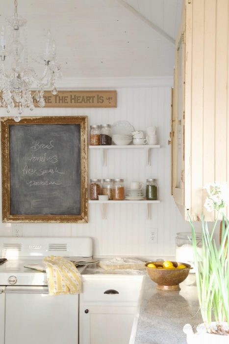 French Country Decor Ideas - Eclectic French Kitchen with Rustic Chalkboard Sign - Cabritonyc.com