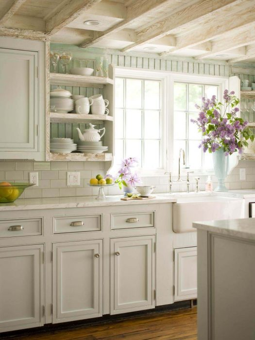 French Country Decor Ideas - Beautiful Mint and White French Kitchen - Cabritonyc.com