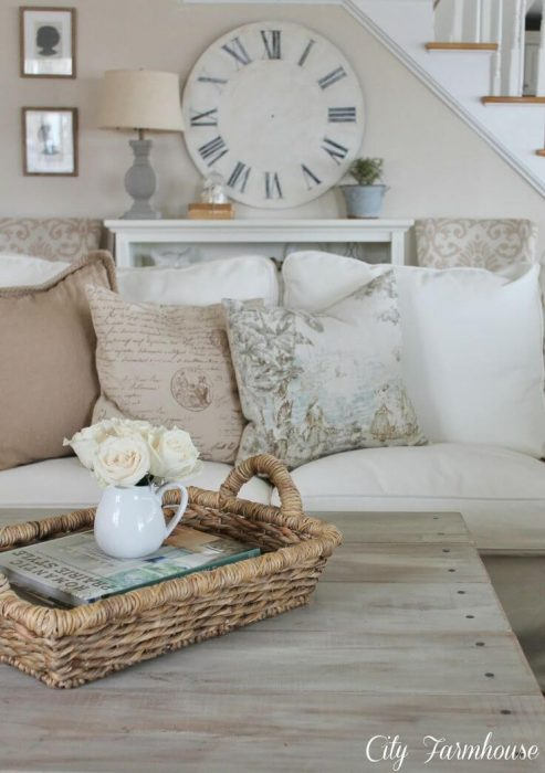 French Country Decor Ideas - White Linen Couch and Barnwood Coffee Table - Cabritonyc.com