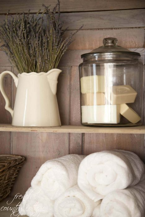 French Country Decor Ideas - French Country Bathroom or Linen Closet Display - Cabritonyc.com