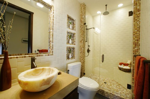 Bathroom Mirror Ideas - Tile Backsplash Embedded Mirror - Cabritonyc.com
