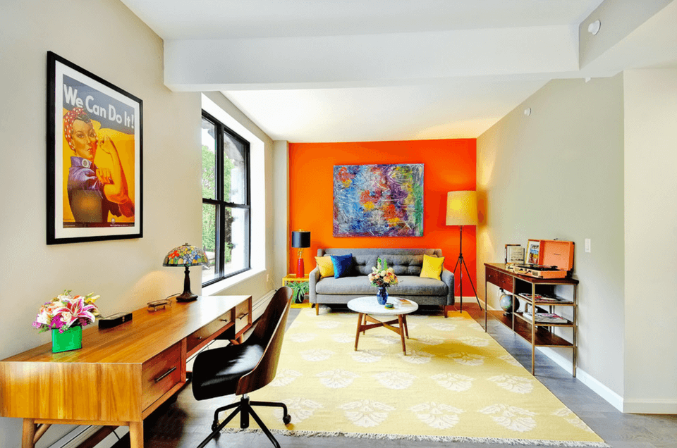 Accent Wall Ideas - Orange Living Room - Cabritonyc.com
