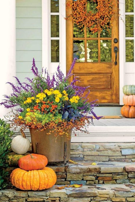Front Door Flower Pots Ideas - Copper Container Fall Porch Display - Cabritonyc.com