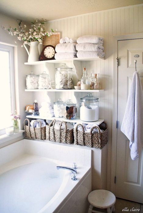 Bathroom Storage Ideas - Bottles and Baskets - Cabritonyc.com