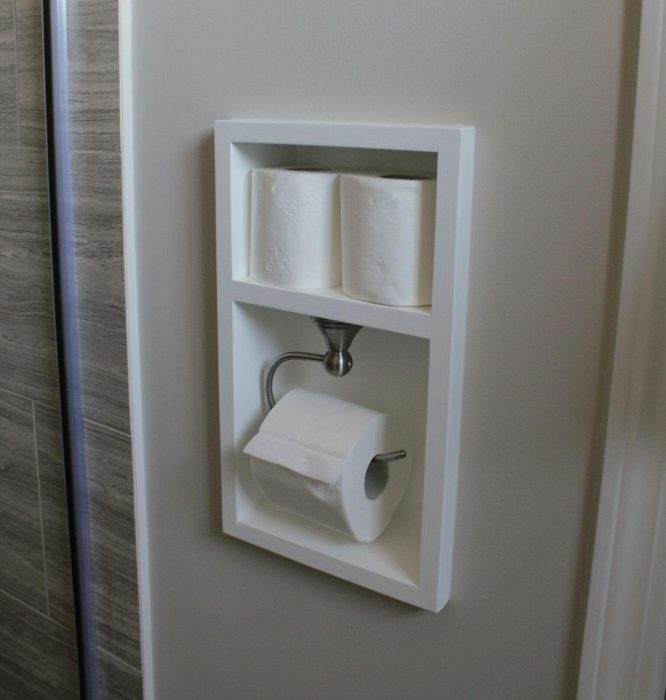 Bathroom Storage Ideas - A Shadow Box for Toilet Paper - Cabritonyc.com