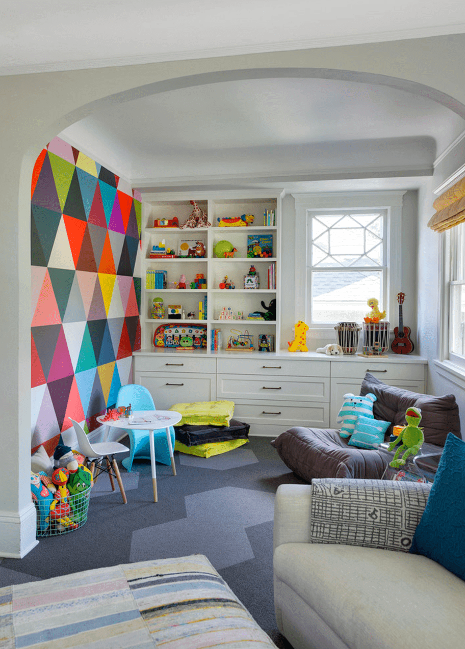 Accent Wall Ideas - Multicolor Mural Living Room - Cabritonyc.com
