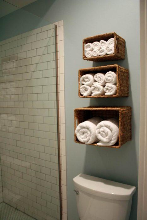 Bathroom Storage Ideas - Floating Wicker Baskets - Cabritonyc.com