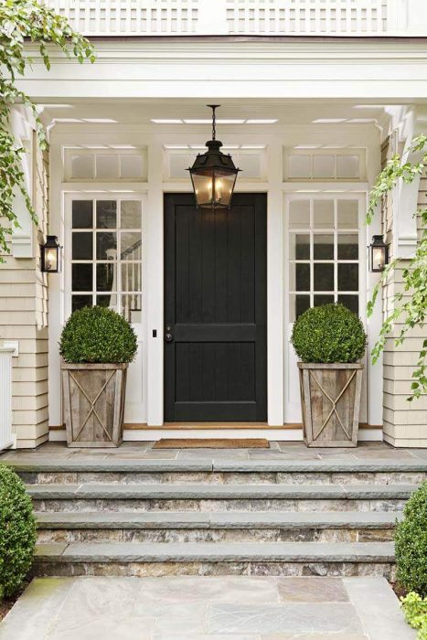 Front Door Flower Pots Ideas - Rustic Wood Shrub Porch Planters - Cabritonyc.com
