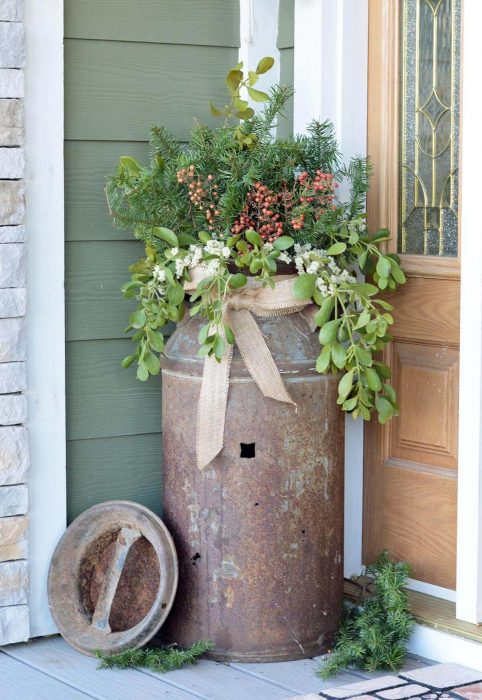 Front Door Flower Pots Ideas - Antique Milk Can Porch Planter Cabritonyc.com