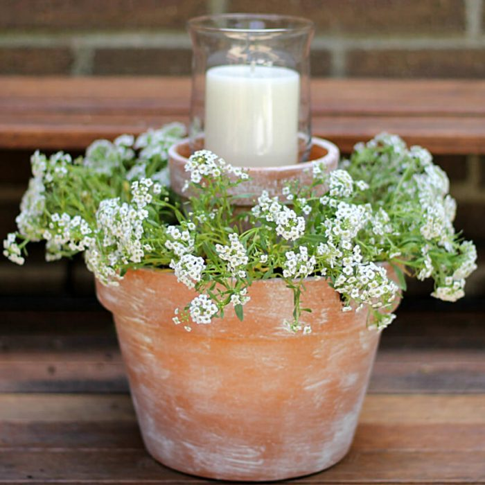 Front Door Flower Pots Ideas - Tiered Terra Cotta Pot Planter with Candle - Cabritonyc.com