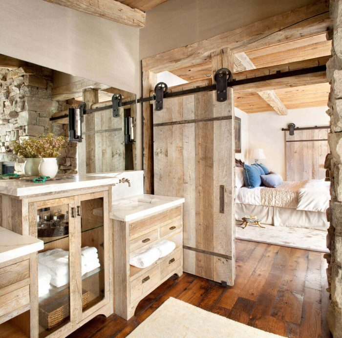 Farmhouse Bathroom Decor Ideas - Sliding Barn Door for Master Bathroom - Cabritonyc.com