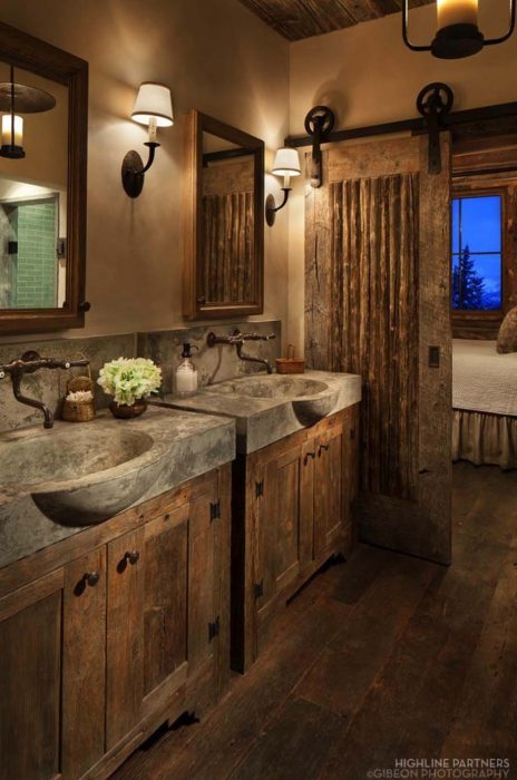 1. Rustic Bathroom Décor with Concrete Sinks and Barn Door