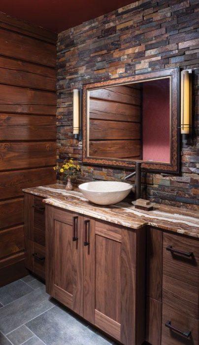 Rustic Bathroom Decor Ideas - Slate Mosaic Accent Wall - Cabritonyc.com