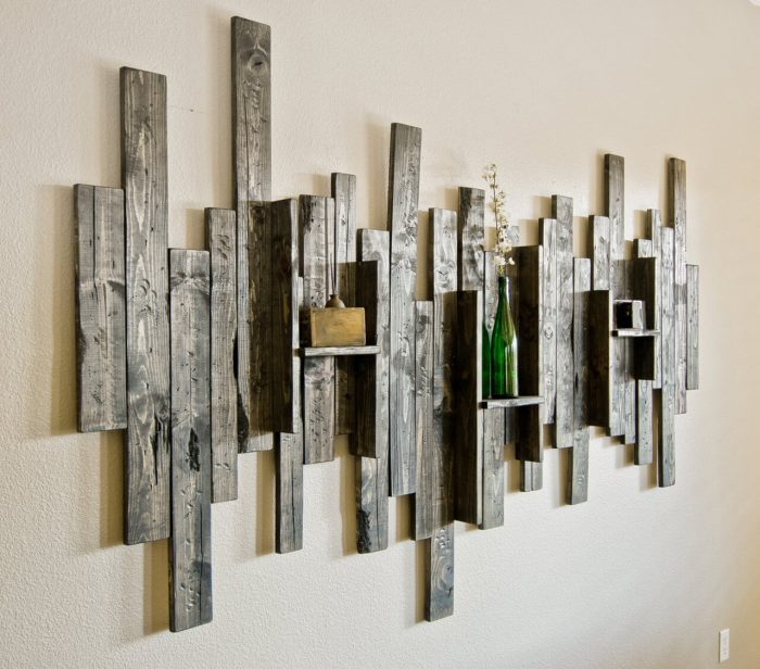 Rustic Wall Decor Ideas - Abstract Wall Art and Shelf from Rustic Barn Wood - Cabritonyc.com