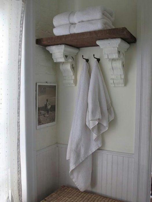 Rustic Bathroom Decor Ideas - Reclaimed Cornice Shelving - Cabritonyc.com