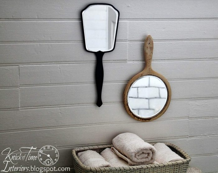 Farmhouse Bathroom Decor Ideas - Vintage Hand Mirrors Wall Decoration - Cabritonyc.com