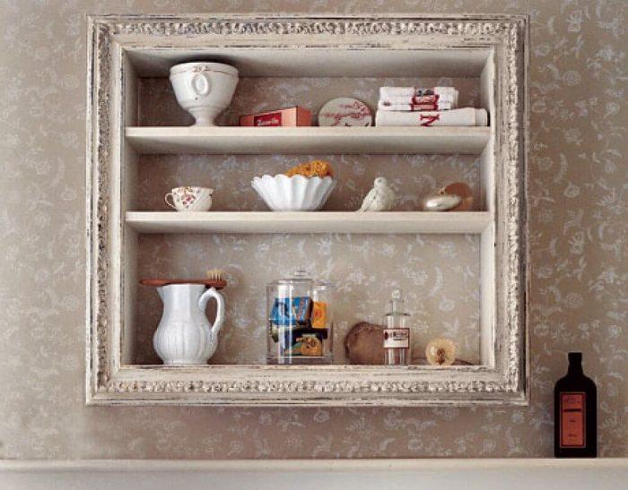 Rustic Bathroom Decor Ideas - Vintage Wooden Framed Storage Shelves - Cabritonyc.com