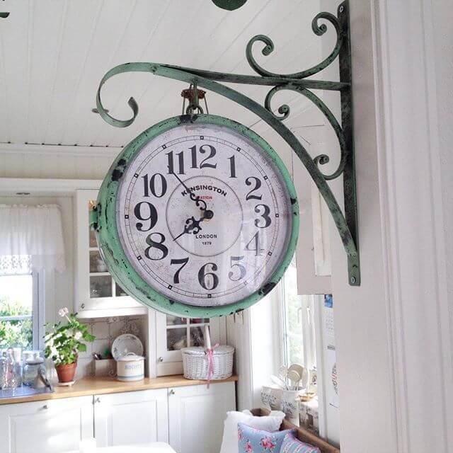 Farmhouse Kitchen Decor Design Ideas - Vintage Hanging Pharmacy Clock in Weathered Copper - Cabritonyc.com