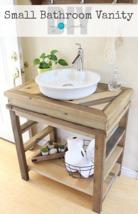 Farmhouse Bathroom Decor Ideas - DIY Rustic Wood Bathroom Vanity - Cabritonyc.com