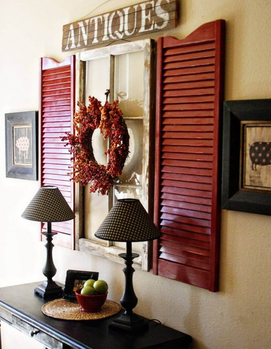 Rustic Wall Decor Ideas - Vibrant Black and Red Window Shutter Display - Cabritonyc.com