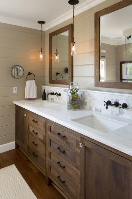 Farmhouse Bathroom Decor Ideas - Wood Farmhouse Vanity with Aged Bronze Fixtures - Cabritonyc.com