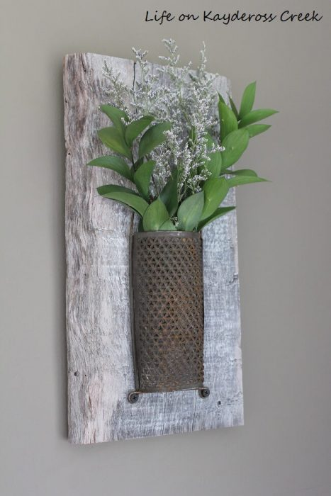 Rustic Wall Decor Ideas - Whitewashed Wood and Antique Brass Wall Sconce - Cabritonyc.com