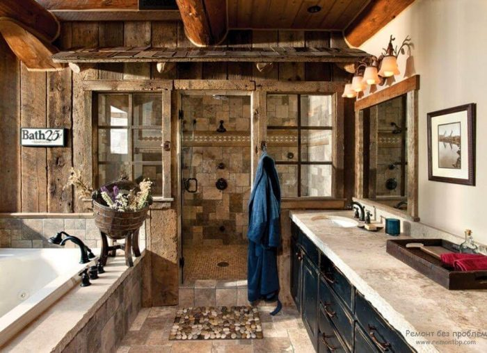 Rustic Bathroom Decor Ideas - Mixed Stone Cabin Bathroom with Walk-in Shower - Cabritonyc.com