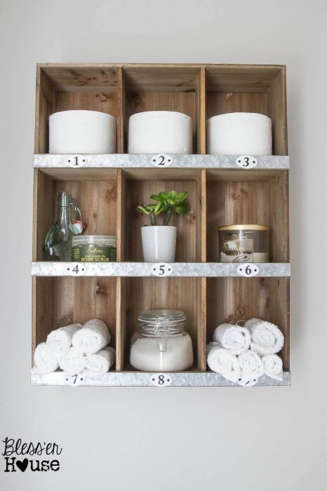Farmhouse Bathroom Decor Ideas - DIY Wood and Metal Cubby Organizer - Cabritonyc.com
