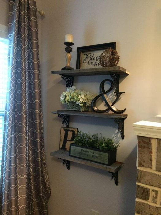 Rustic Wall Decor Ideas - Triple Shelf Display with Wrought Iron Brackets - Cabritonyc.com
