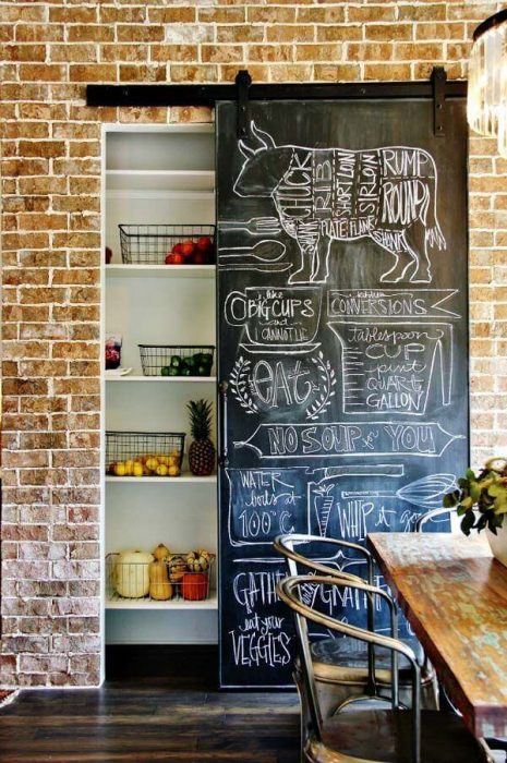 Farmhouse Kitchen Decor Design Ideas - Hanging Chalkboard Pantry Door With - Cabritonyc.com