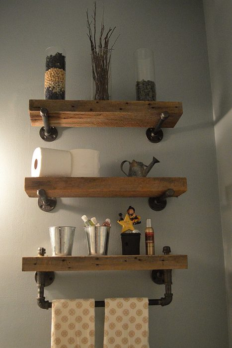Rustic Bathroom Decor Ideas - Heavy Plank Shelves with Industrial Hardware - Cabritonyc.com