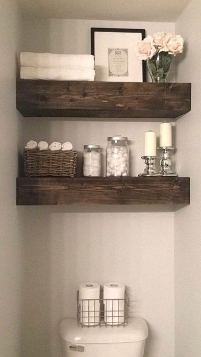 Farmhouse Bathroom Decor Ideas - Rustic Wood Beam Bathroom Shelves - Cabritonyc.com