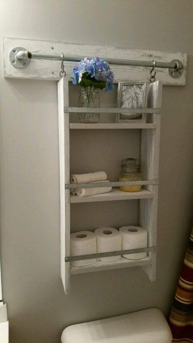 Farmhouse Bathroom Decor Ideas - Wooden Above Toilet Shelf Organizer - Cabritonyc.com