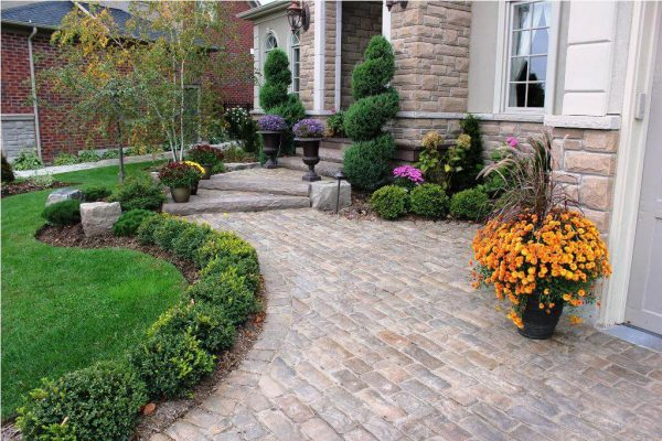 Front Yard Landscaping Ideas - Structured Evergreen Garden Beds with Colorful Planters- Cabritonyc.com
