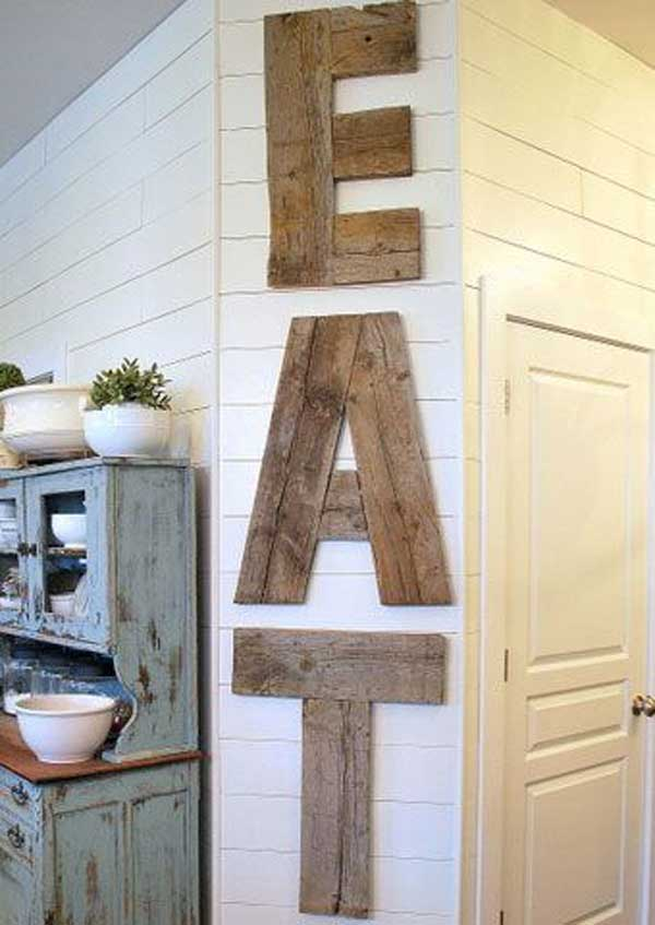 Rustic Wall Decor Ideas - Country Diner Barn Wood Kitchen Sign - Cabritonyc.com