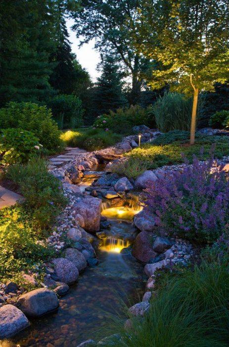Backyard Landscaping Ideas - Lighted Waterfall - Cabritonyc.com