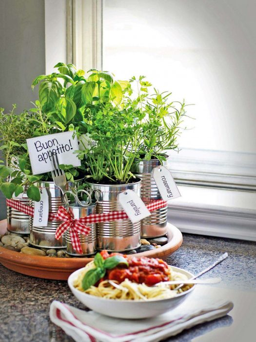 Farmhouse Kitchen Decor Design Ideas - Recycled Coffee Can Kitchen Herb Garden - Cabritonyc.com
