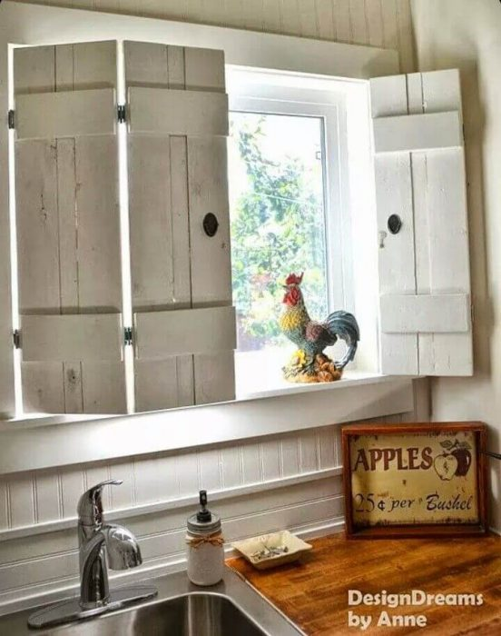 Farmhouse Kitchen Decor Design Ideas - Barnyard Picket Window Shutters with Antiqued Hardware - Cabritonyc.com