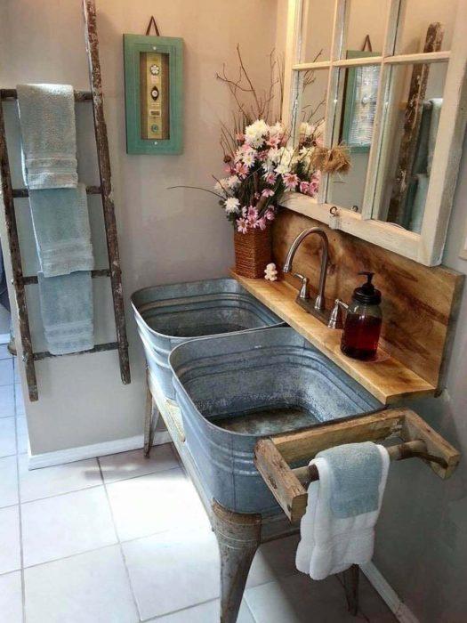 Farmhouse Bathroom Decor Ideas - Galvanized Metal Tub Double Vanity - Cabritonyc.com