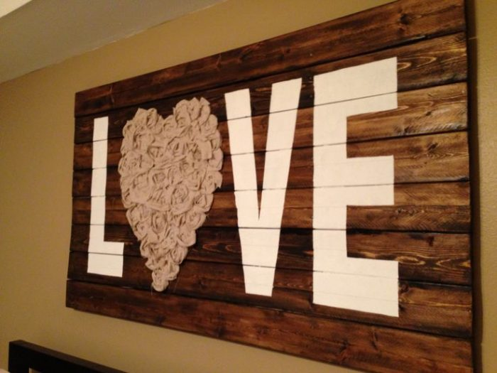 "Rustic Wall Decor Ideas - ""Love"" Wall Art with Reclaimed Wood and Fabric - Cabritonyc.com"
