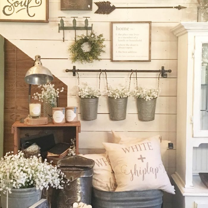 Rustic Wall Decor Ideas - Wall Collage with Reclaimed Metal Farm Fixtures - Cabritonyc.com