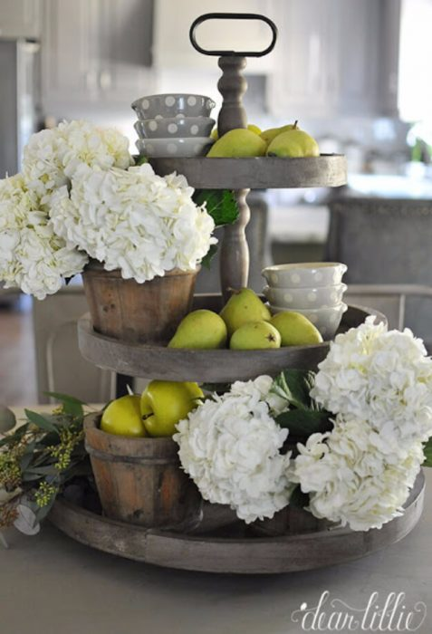 Farmhouse Kitchen Decor Design Ideas - Weathered Gray Tiered Fruit and Flower Stand - Cabritonyc.com